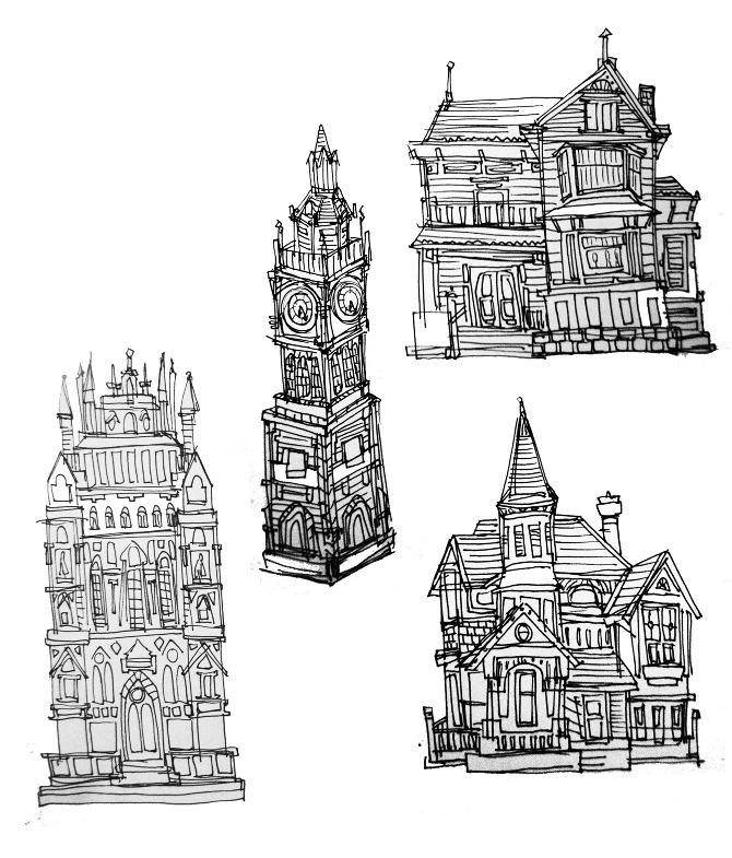 illustration building sketches christine chen